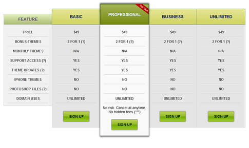 Pricing Table 3 - Table de Prix WordPress Plugin