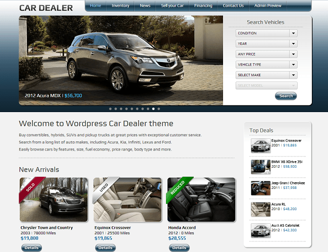 Theme WordPress pour Concessionnaire Automobile Voitures - Car Dealer