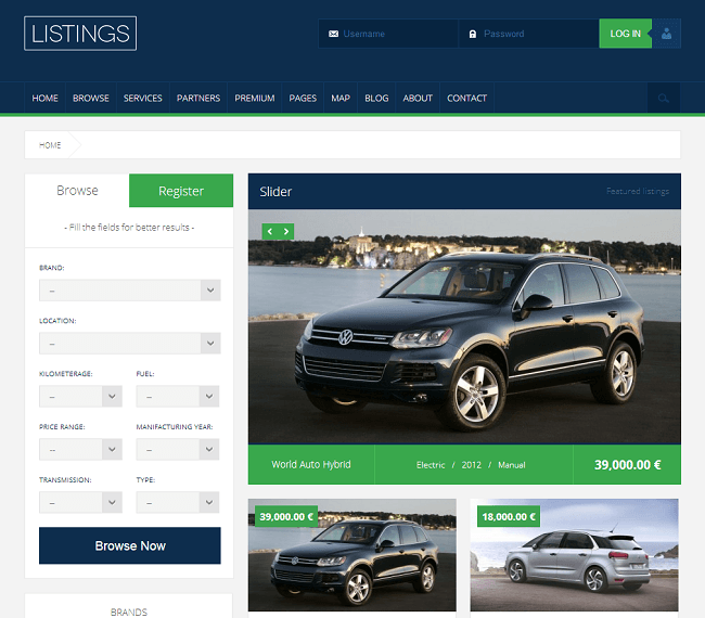 Theme WordPress Concessionnaire Dealer Vendeur Automobile - Listings