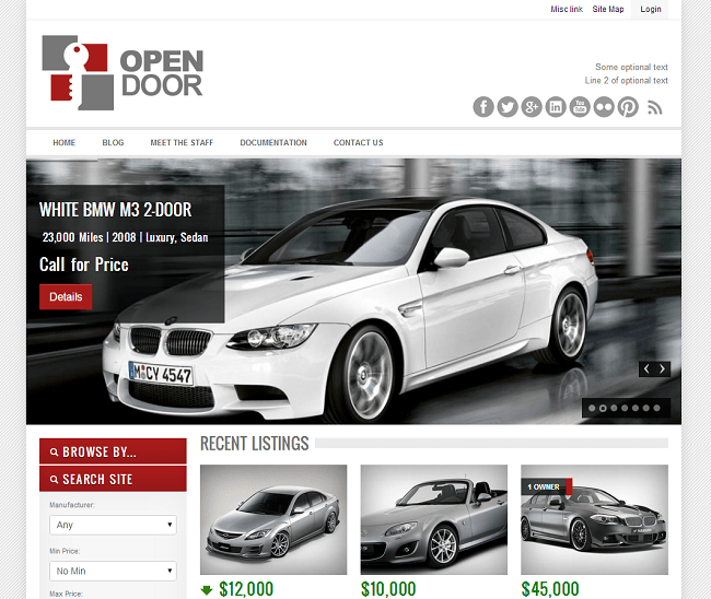 Theme WordPress pour Concessionnaire Automobile Voitures - OpenDoor Car Dealership