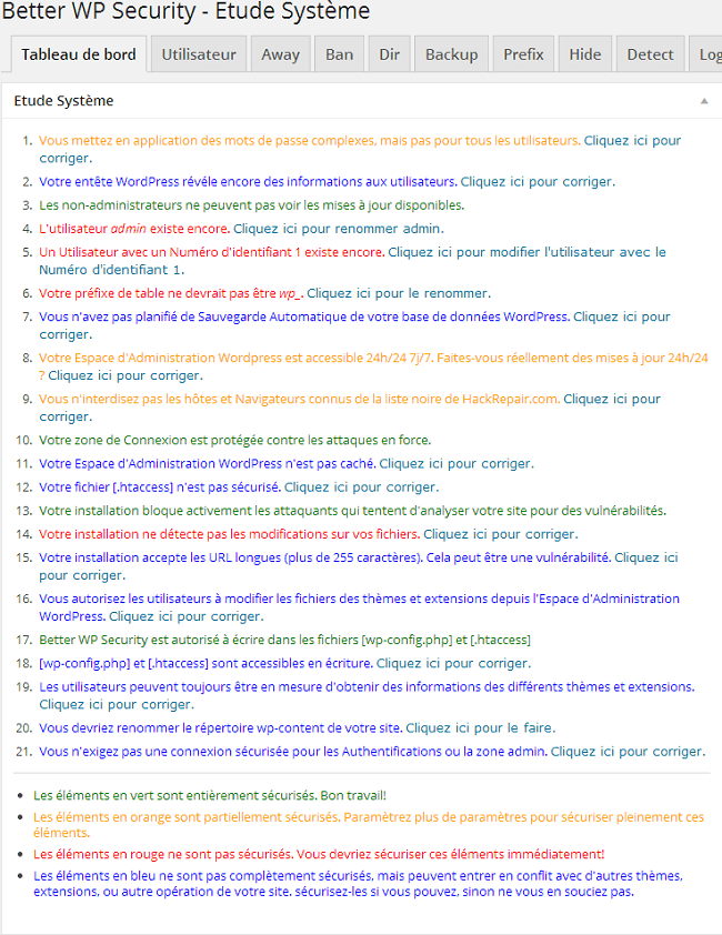Tableau de bord du plugin Better WP Security