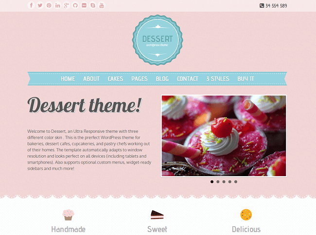Dessert - theme WordPress patisseries gateaux