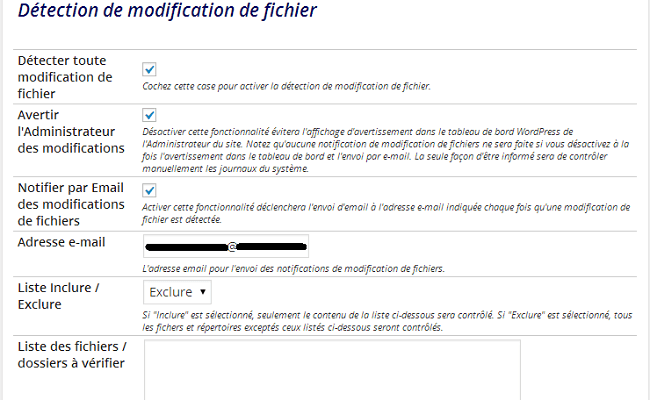 Détection de modification de fichier - plugin Better WP Security