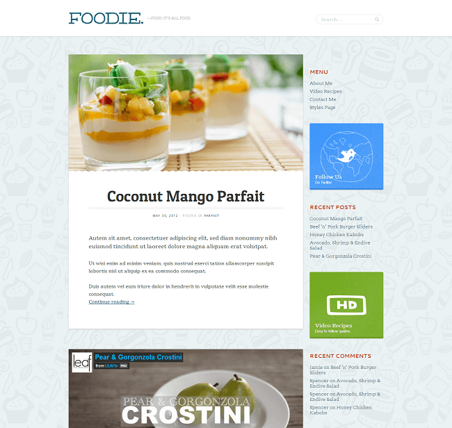 Foodie - theme WordPress pour blog culinaire