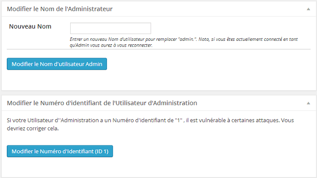 Modification de l'utilisateur admin et de l'ID 1 - plugin Better WP Security