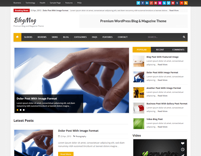 BlogMag - theme WordPress pour Blog et Magazine