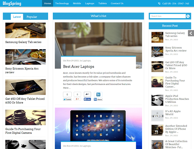 BlogSpring Theme WordPress - Inkthemes