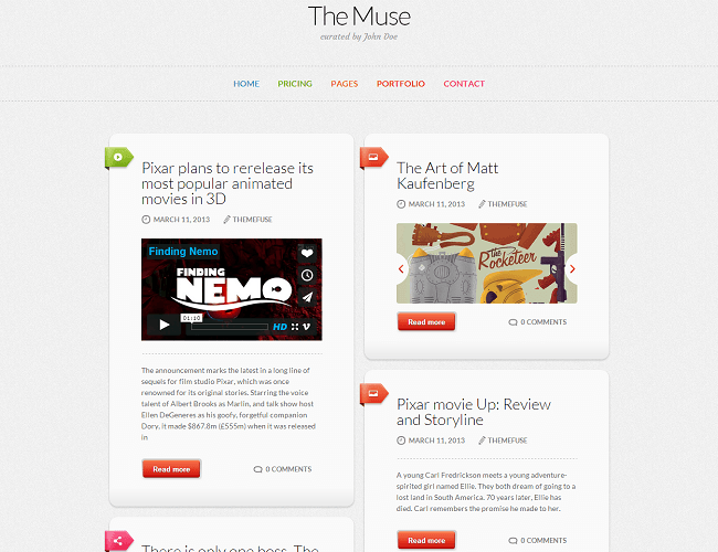 The Muse theme wordpress blog