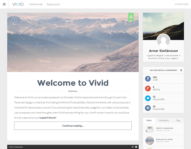 Vivid - theme WordPress blog personnel