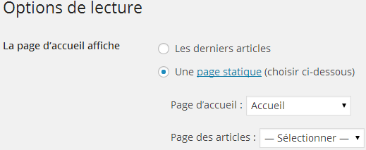 Options de lecture WordPress
