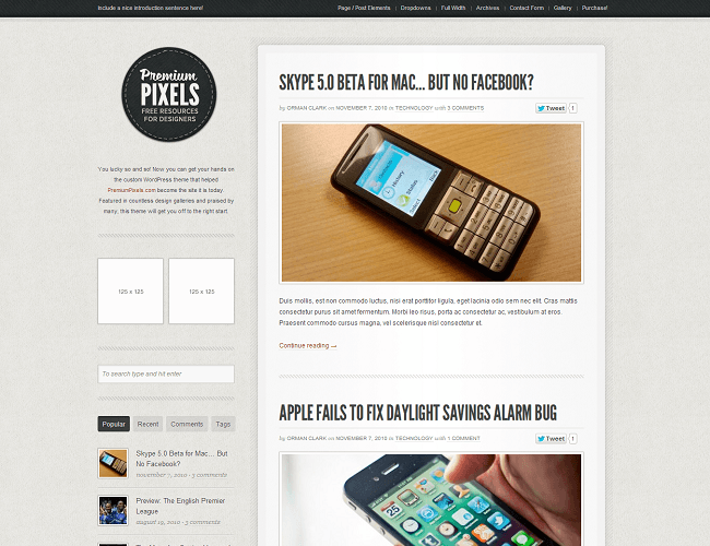 Premium Pixels - Theme WordPress Blog