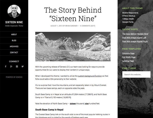 Sixteen Nine Pro - Theme WordPress Blog