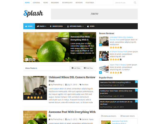 Splash - theme WordPress blog et review