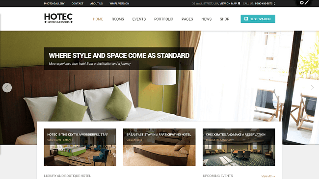 Hotec - theme wordpress hotel