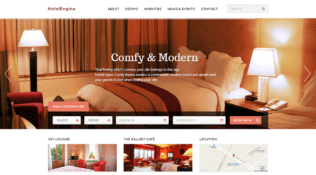 HotelEngine Comfy - theme wordpress hotel