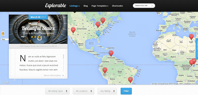 Explorable : Theme WordPress pour Annonces, Annuaire et Business Local