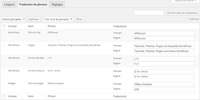 Traduction des phrases avec le plugin Polylang