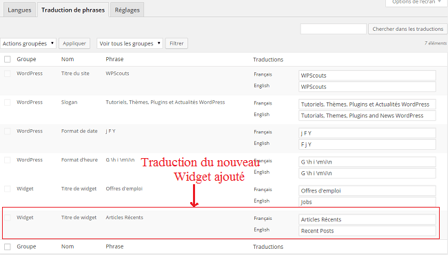 Traductions des phrases avec le plugin Polylang