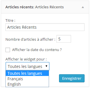 Widget WordPress : Articles Récents