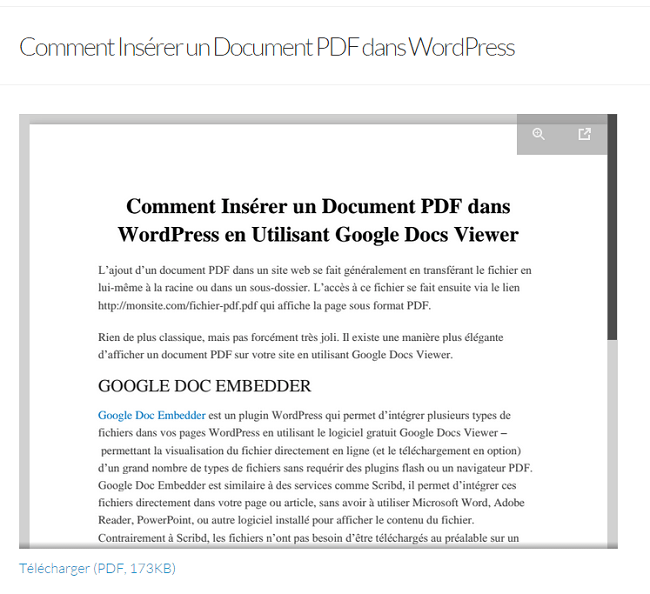 comment ins u00e9rer un document pdf dans wordpress avec google doc embedder