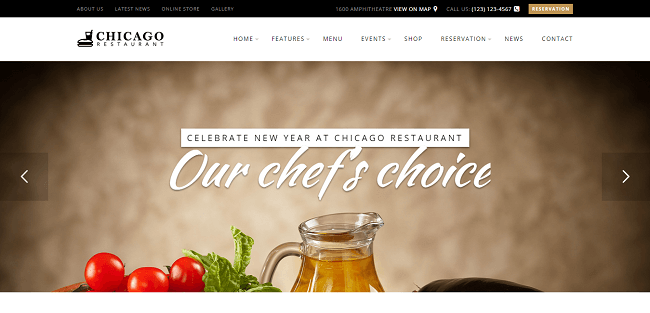 Chicago : Theme WordPress Restaurant