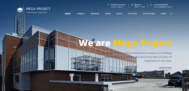 Mega Project : Construction Company WordPress Theme