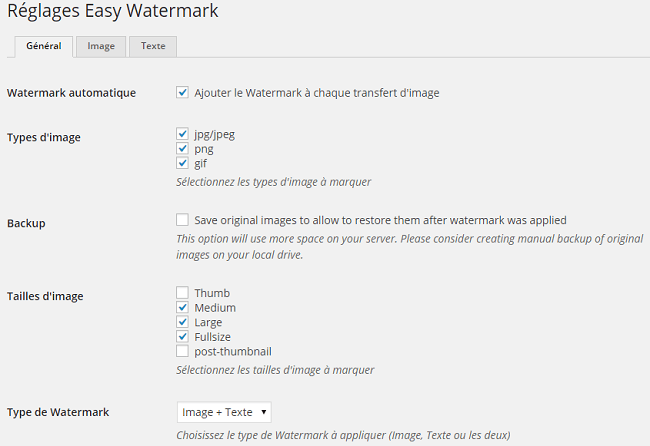 Réglages du plugin Easy Watermark
