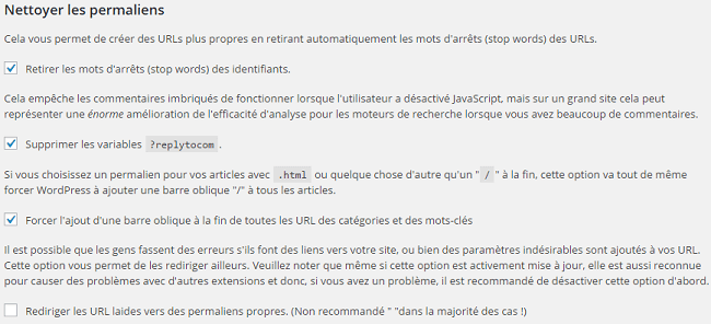 Nettoyer les permaliens, WordPress SEO by Yoast.