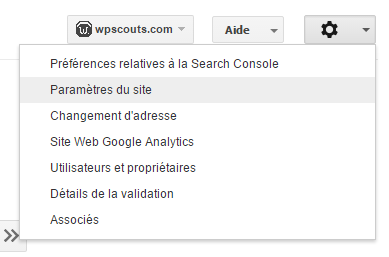 Réglages Search Console