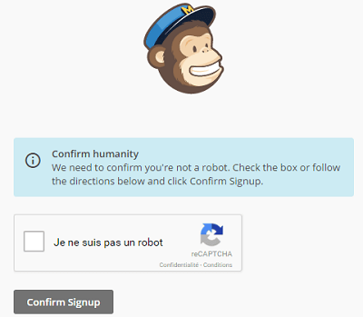 Confirmation de l'inscription à Mailchimp avec Google reCaptcha