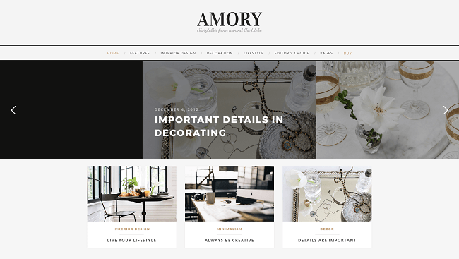 Amory - Storytelling blog Theme WordPress