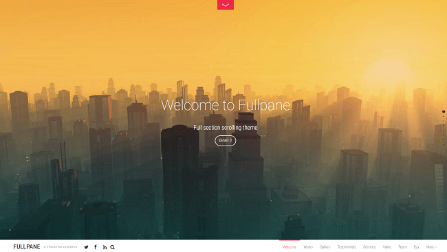 Fullpane - Full section scrolling theme. Avec du code CSS3, JavaScript et HTML5 avancé.