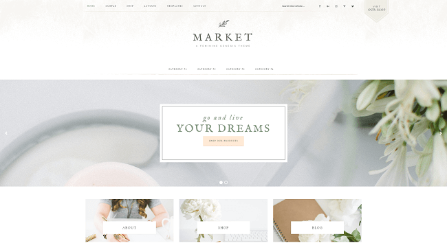 Market Pro par Studiopress. Theme WordPress Business Féminin