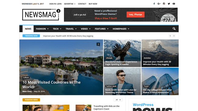Newsmag - Thème WordPress Magazine