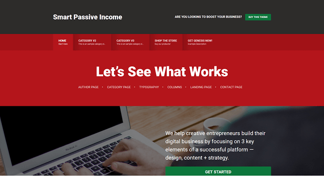 Smart Passive Income Pro Theme : reprend le design du blog de Pat Flynn. Par Studiopress.