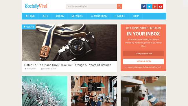 SociallyViral - theme wordpress pour booster son trafic