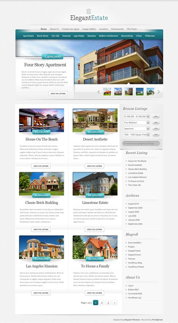 ElegantEstate - theme wordpress immobilier