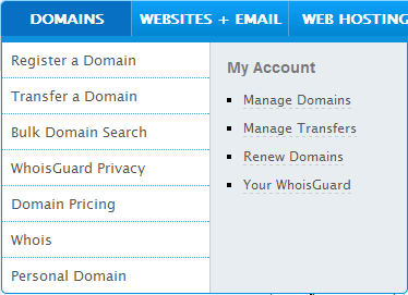 Namecheap - menu domains