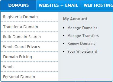 Namecheap - menu domains