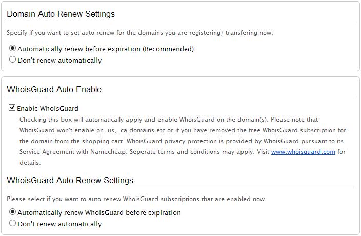 Namecheap - options du nom de domaine