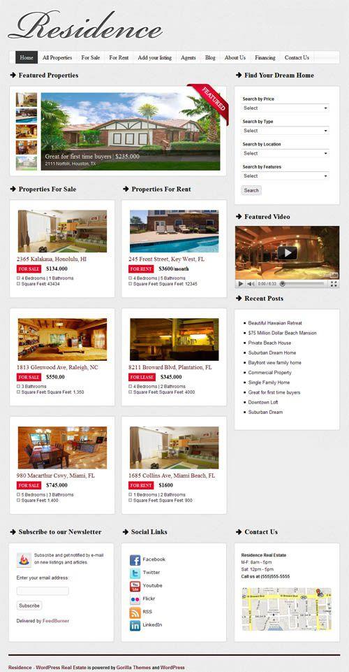 Residence - theme wordpress immobilier