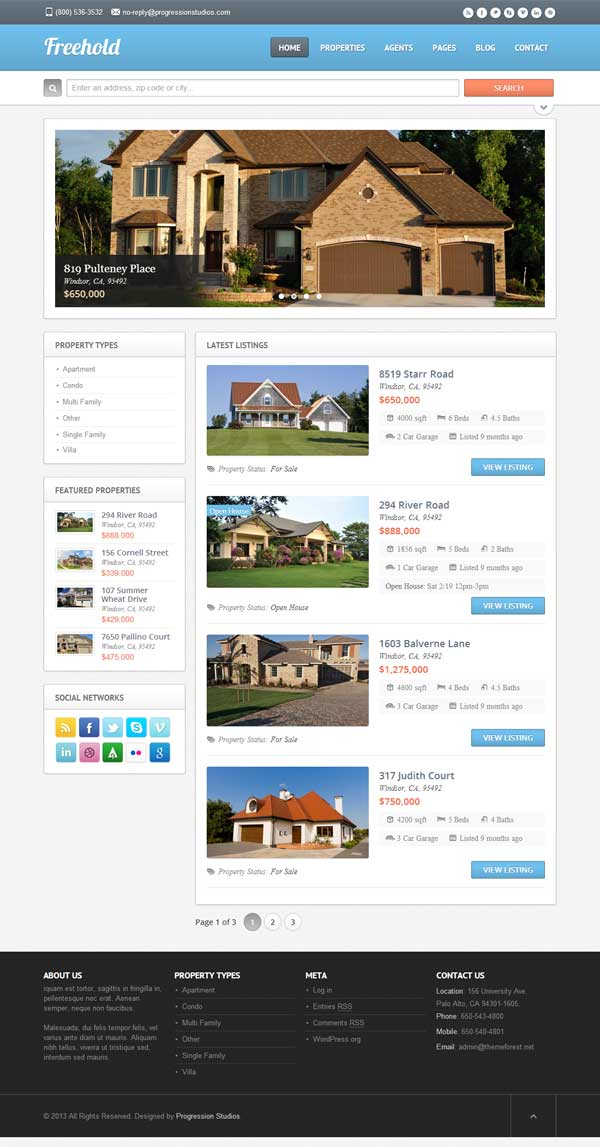 Freehold - theme wordpress immobilier