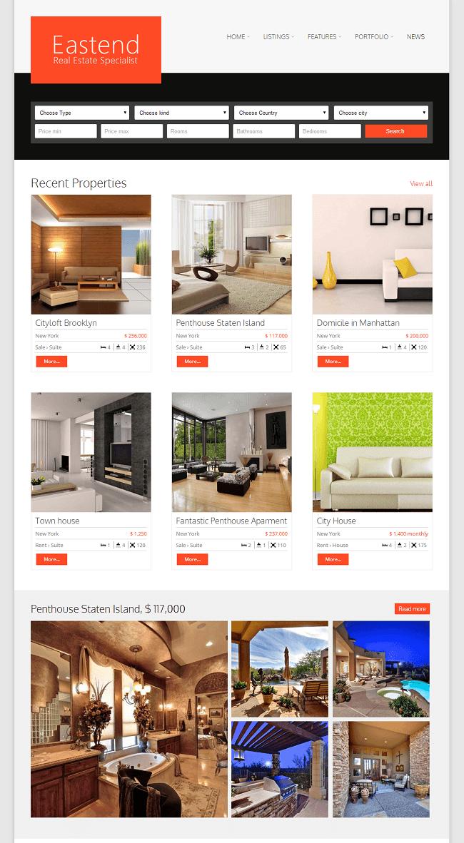 Theme WordPress pour Agence Immobilière - Eastend