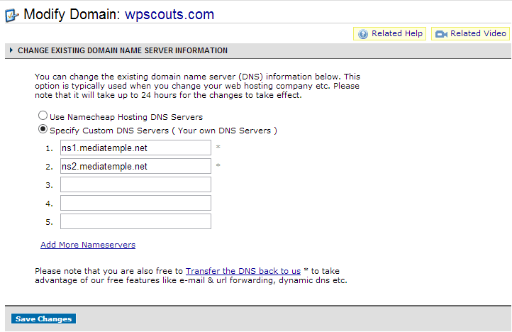 Configurer les serveurs DNS avec namecheap