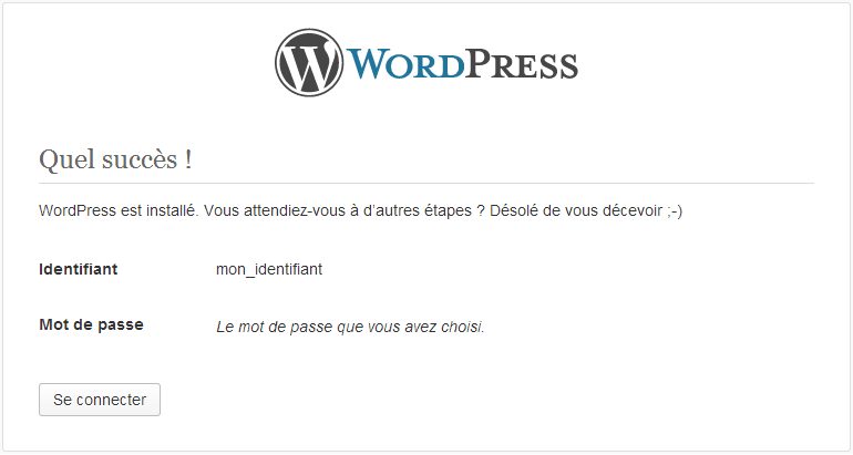 installation wordpress finie