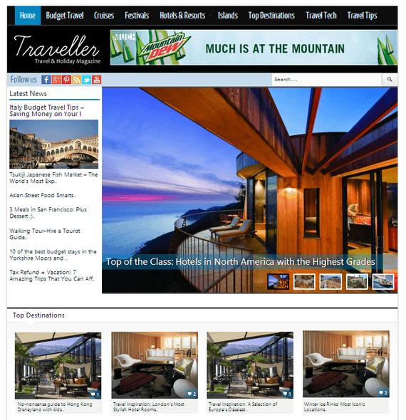 Traveller est un thème WordPress pour magazine de voyage