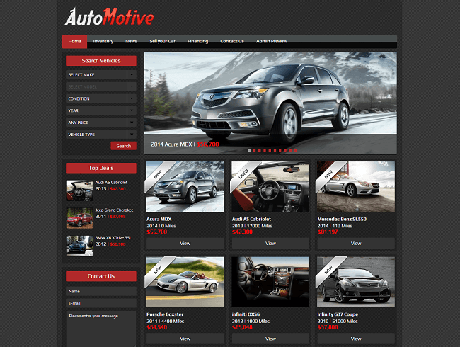 Theme WordPress Responsive Automotive pour Dealers Automobile
