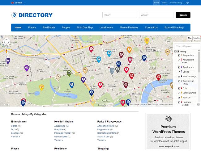 Theme WordPress Responsive App Theme Annuaire - Directory
