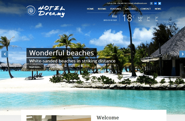 Hotel Dreamy Theme WordPress Responsive