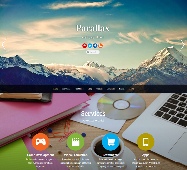 Theme WordPress Responsive Parallax One Page
